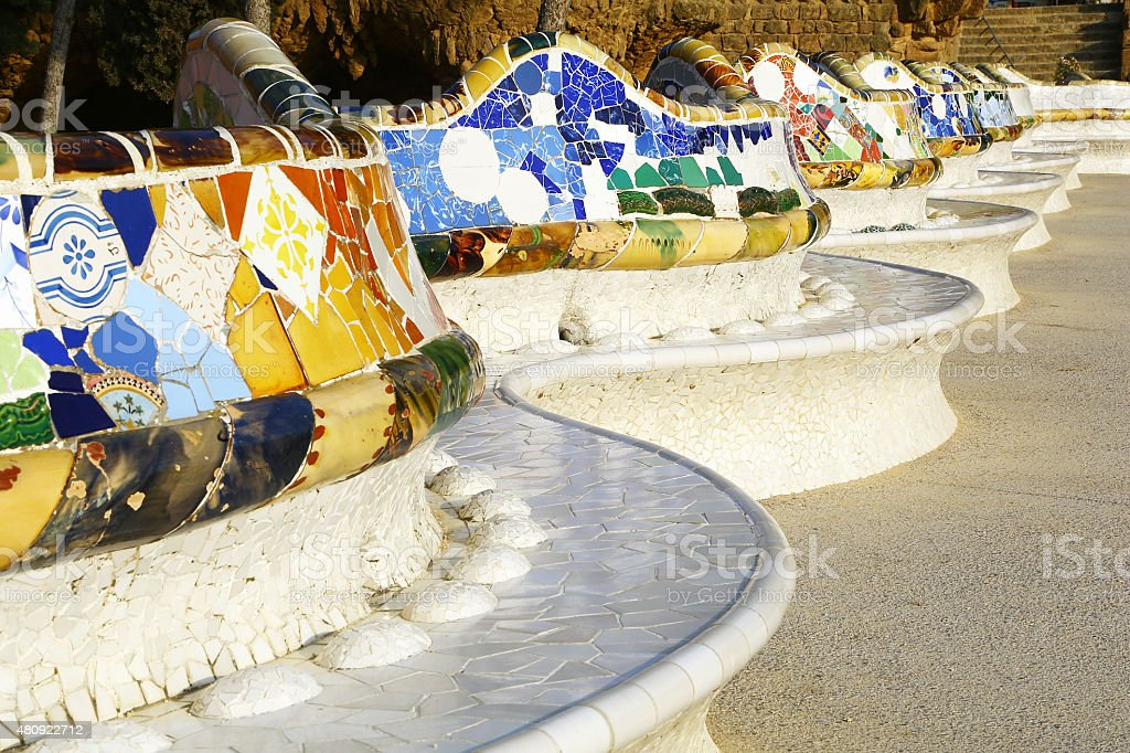 Benches in Park Guell of Barcelona, Spain stock photo