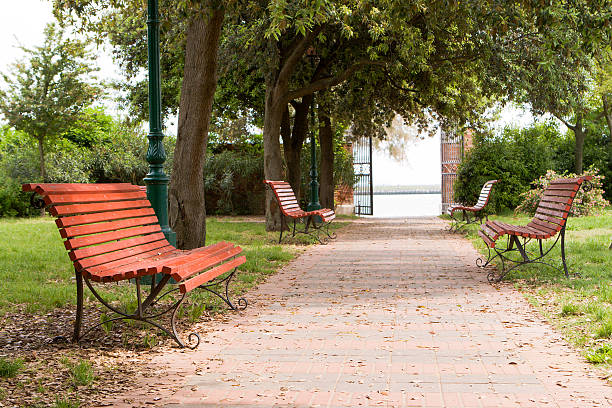 Benches in the park  town square stock pictures, royalty-free photos & images