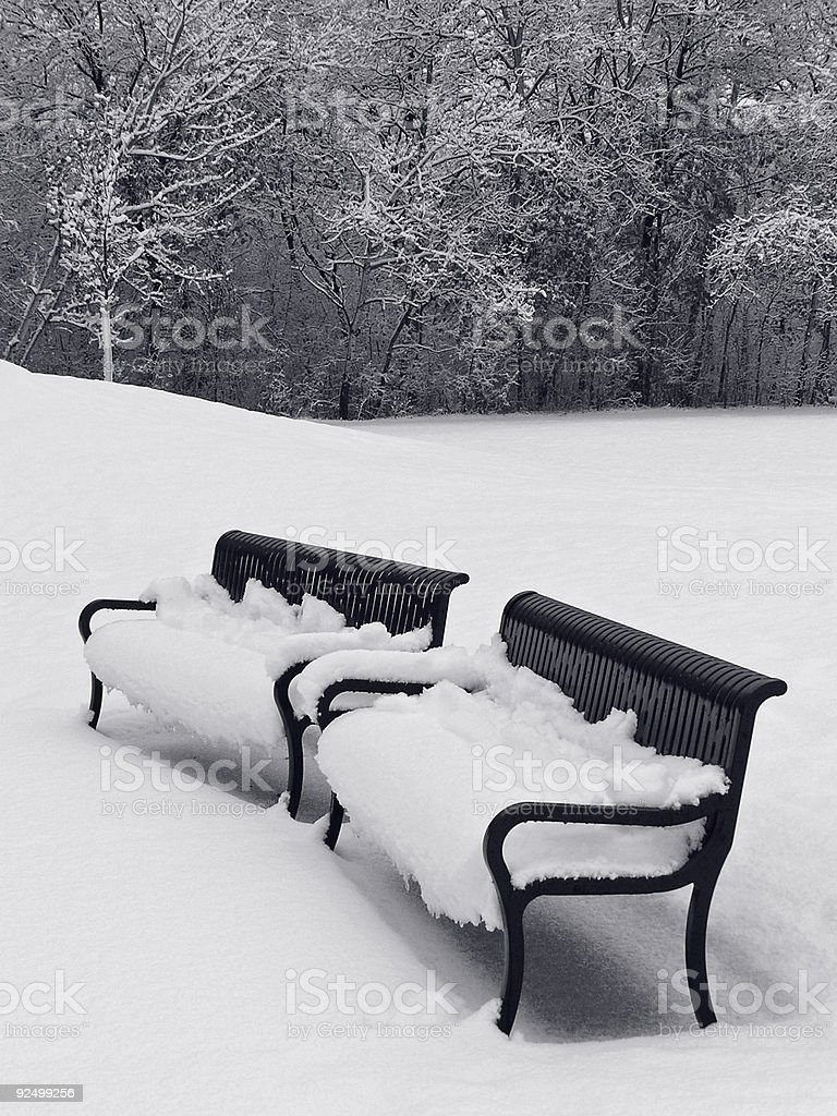 Benches in Winter royalty-free stock photo