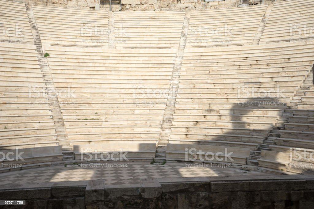 Benches of Odeon Herodes Atticus in Athens, Greece. 免版稅 stock photo