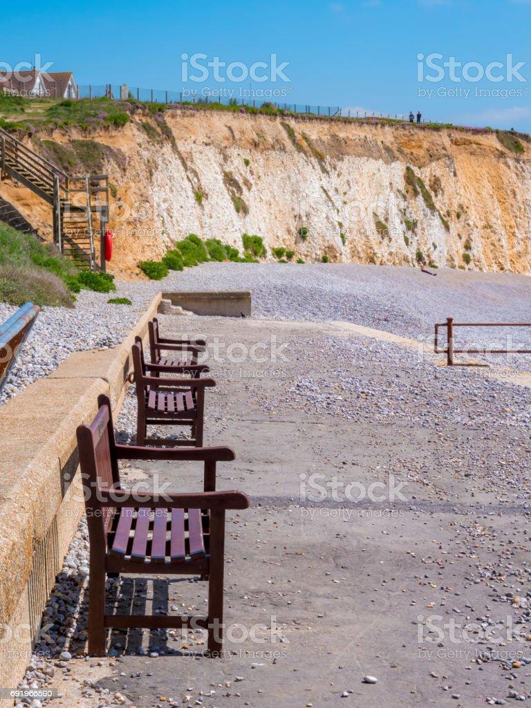 Benches on beach stock photo