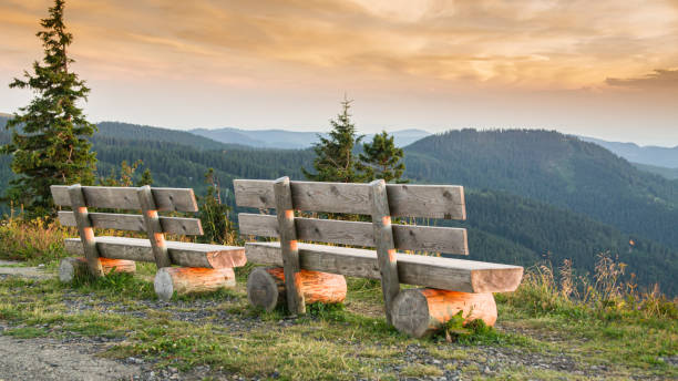 Benches on the Feldberg with a view over hazy hills. Benches on the Feldberg with a view over hazy hills in the evening. black forest stock pictures, royalty-free photos & images