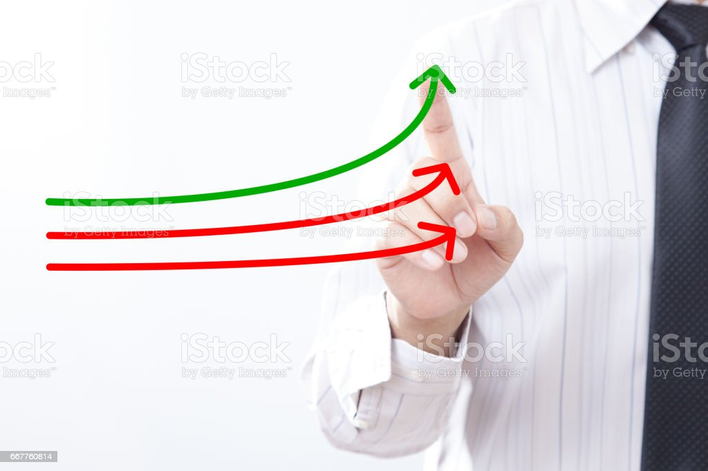 Benchmarking and market leader concept. Manager (businessman, coach, leadership) touch graph with three lines, one of them represent the best company in competition. stock photo
