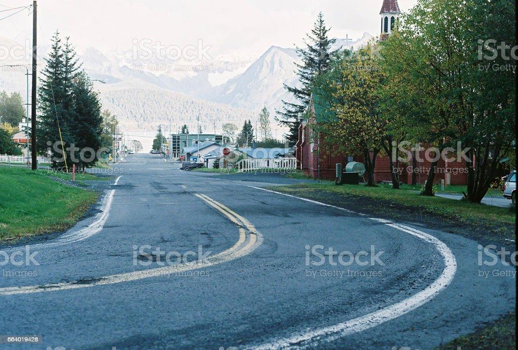 Bend in Road in Seward Alaska stock photo
