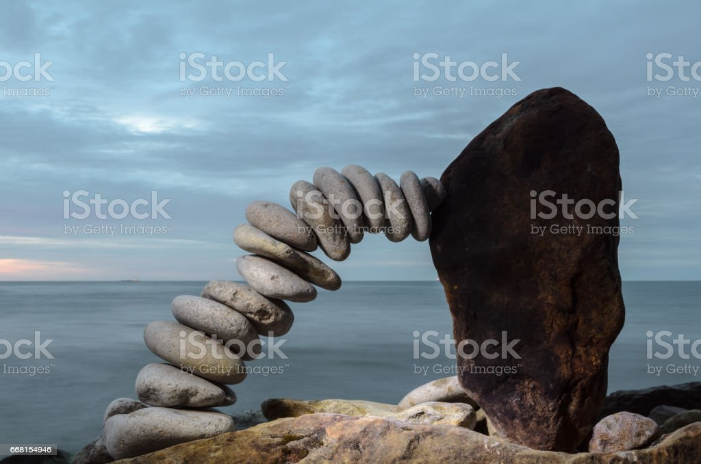 Bend of pebbles stock photo