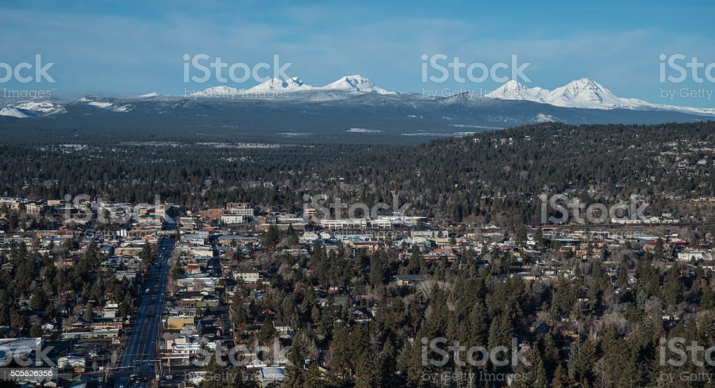 Bend OR with Cascade Range stock photo