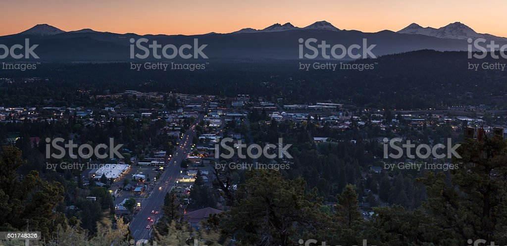 Bend, Oregon aerial cityscape at dusk stock photo