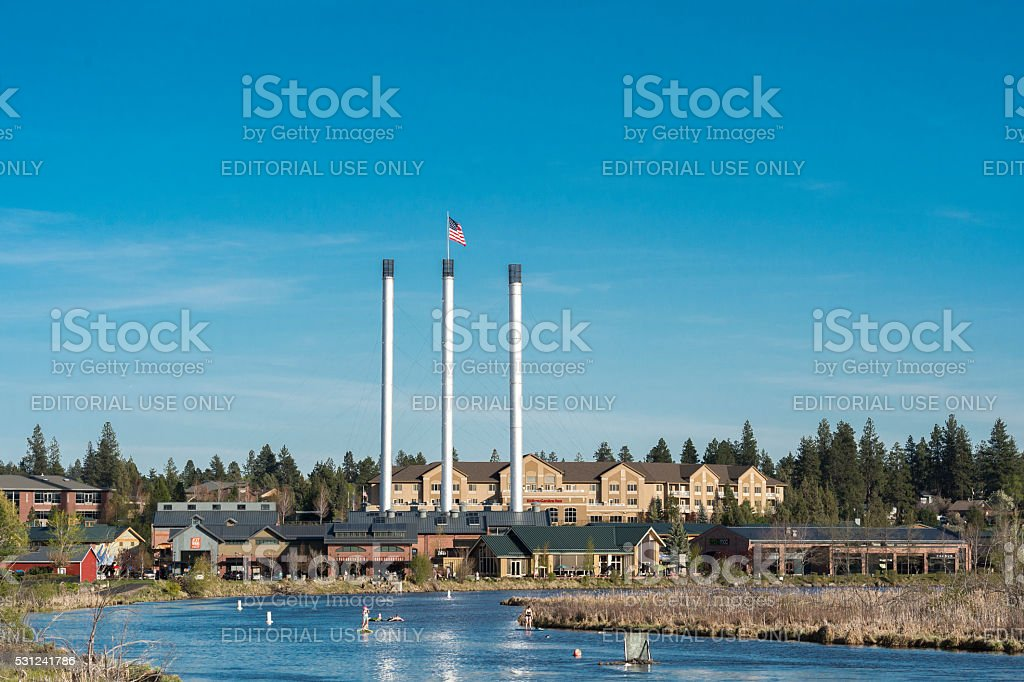 Bend Oregon Old Mill District by Deschutes River stock photo