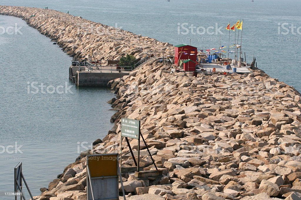 Bend rocky path to ocean royalty-free stock photo