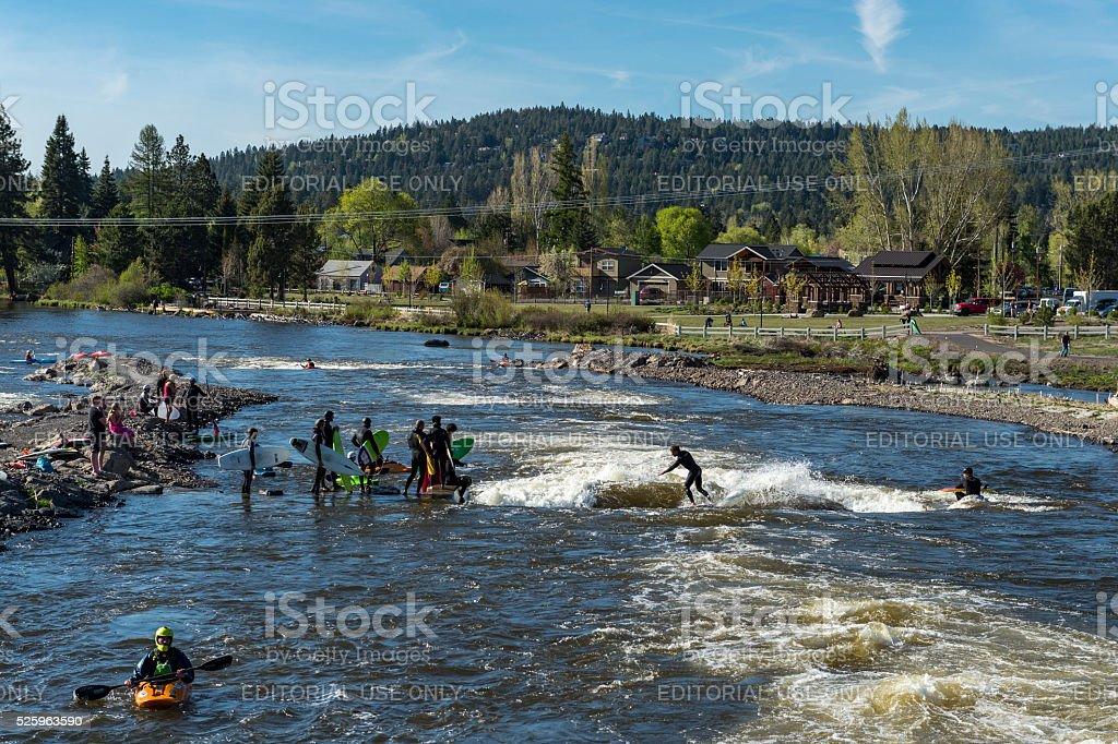 Bend Whitewater Park Deschutes River Oregon Bend Park Recreation District stock photo