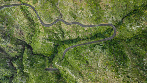 Bended road on mountain of Madeira island. stock photo