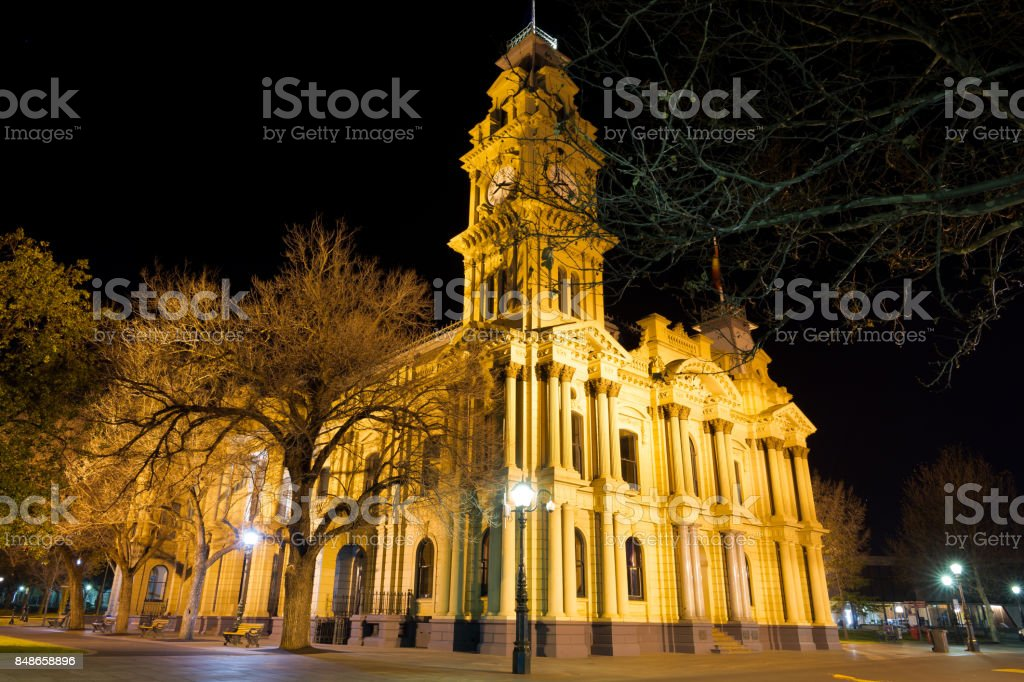 Bendigo Town Hall at night stock photo