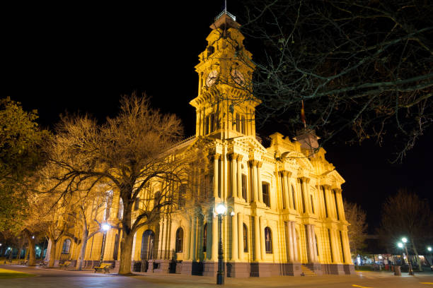 Bendigo Town Hall at night stock photo