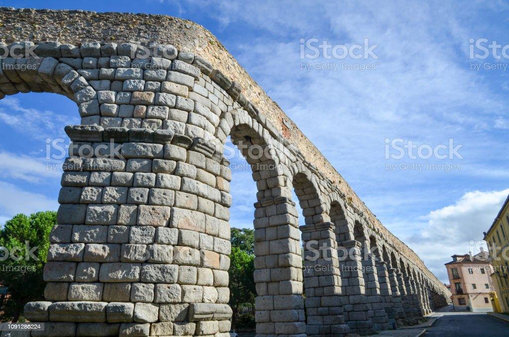 Bending part of Segovia Aqueduct, ruins of ancient Rome, Segovia,...
