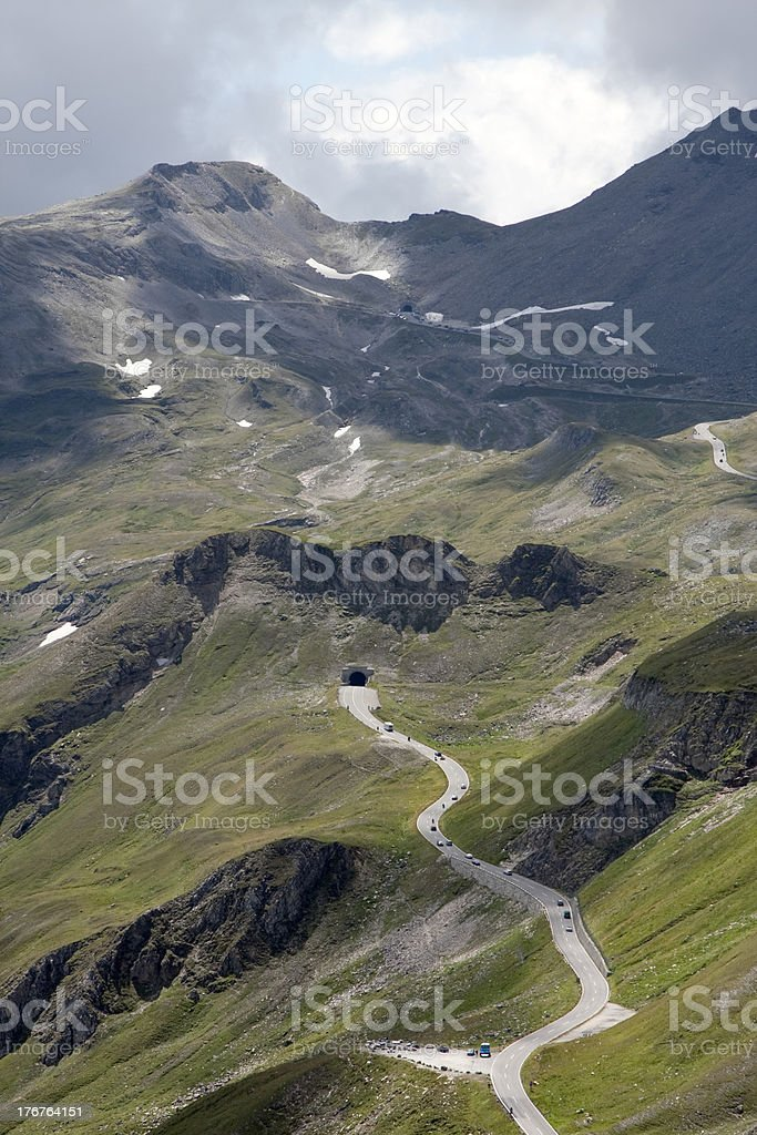 Bendy road at National Park Hohe Tauern (Austria) royalty-free stock photo
