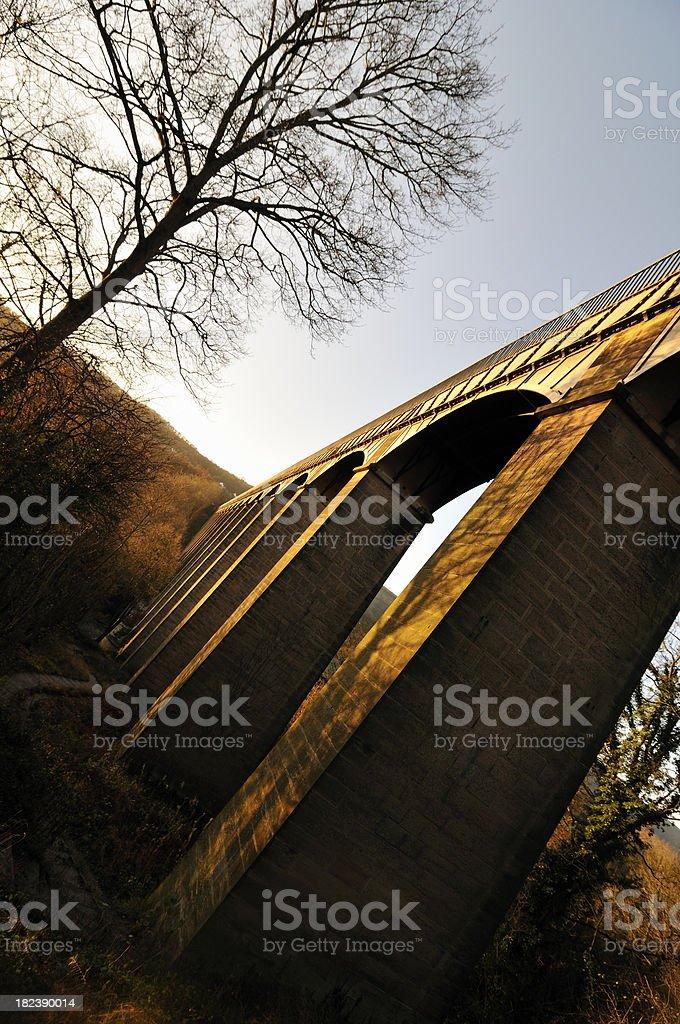 Beneath Pontcysyllte Aqueduct at Sunrise stock photo