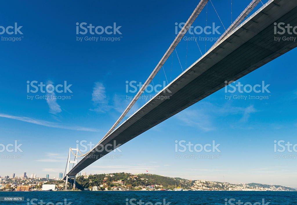 Beneath the Bosphorus Bridge stock photo