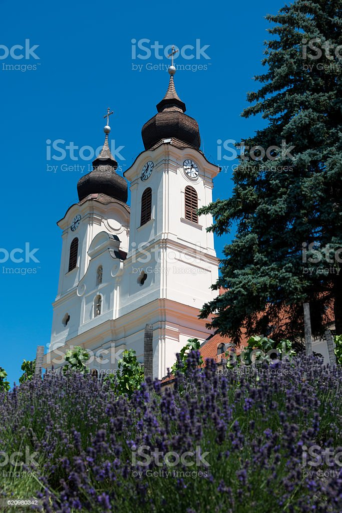 Benedictine abbey em Tihany, Hungria foto royalty-free