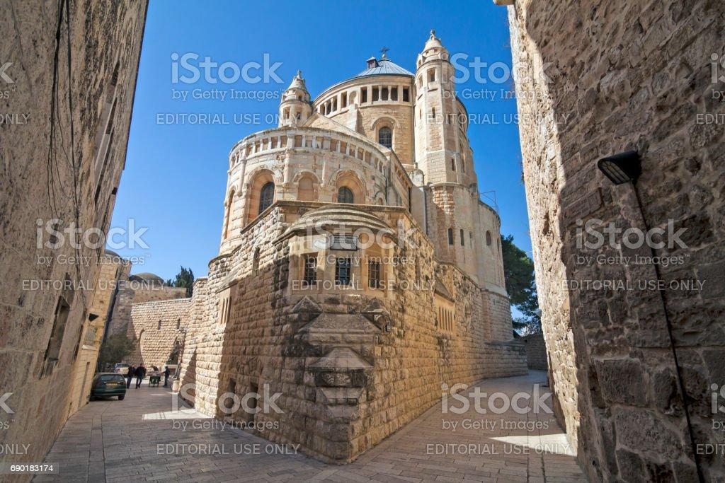 Abadía benedictina de la Dormición en la ciudad vieja de Jerusalén - foto de stock