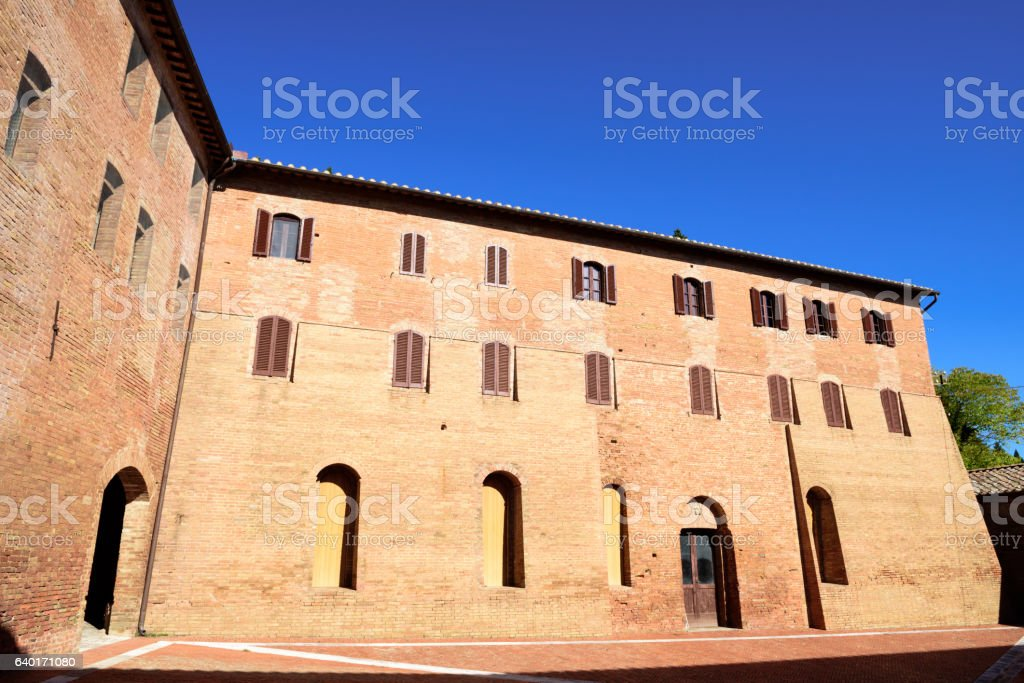 Benedictine Monastery, Abbazia di Monte Oliveto Maggiore, Italy stock photo