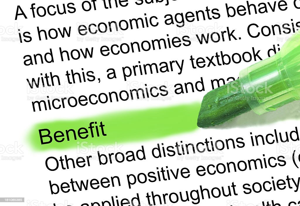 benefit definition marked in dictionary stock photo