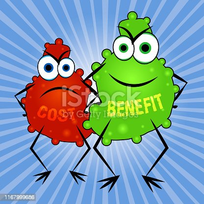 Benefit Versus Cost Creatures Means Value Gained Over Money Spent. Calculation Is Earnings Vs Expense - 3d Illustration