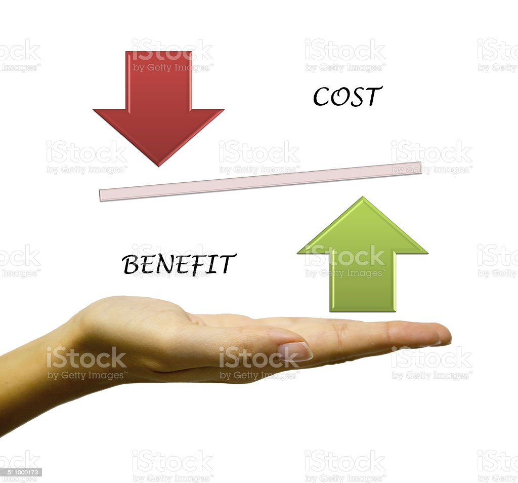 Benefit vs Cost comparison stock photo