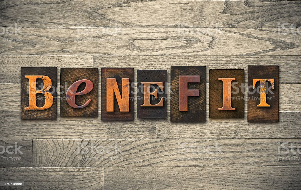 Benefit Wooden Letterpress Theme stock photo