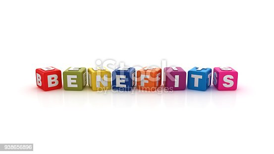 Benefits Buzzword Cubes - White Background - 3D Rendering