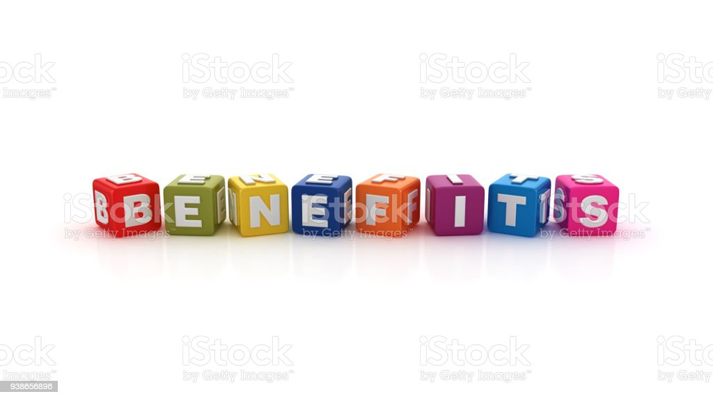 Benefits Buzzword Cubes - 3D Rendering stock photo