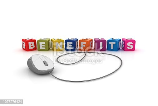 Benefits Buzzword Cubes with Computer Mouse - White Background - 3D Rendering