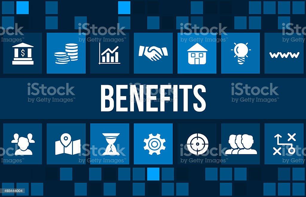 Benefícios conceito de imagem com ícones de negócios e copyspace - foto de acervo