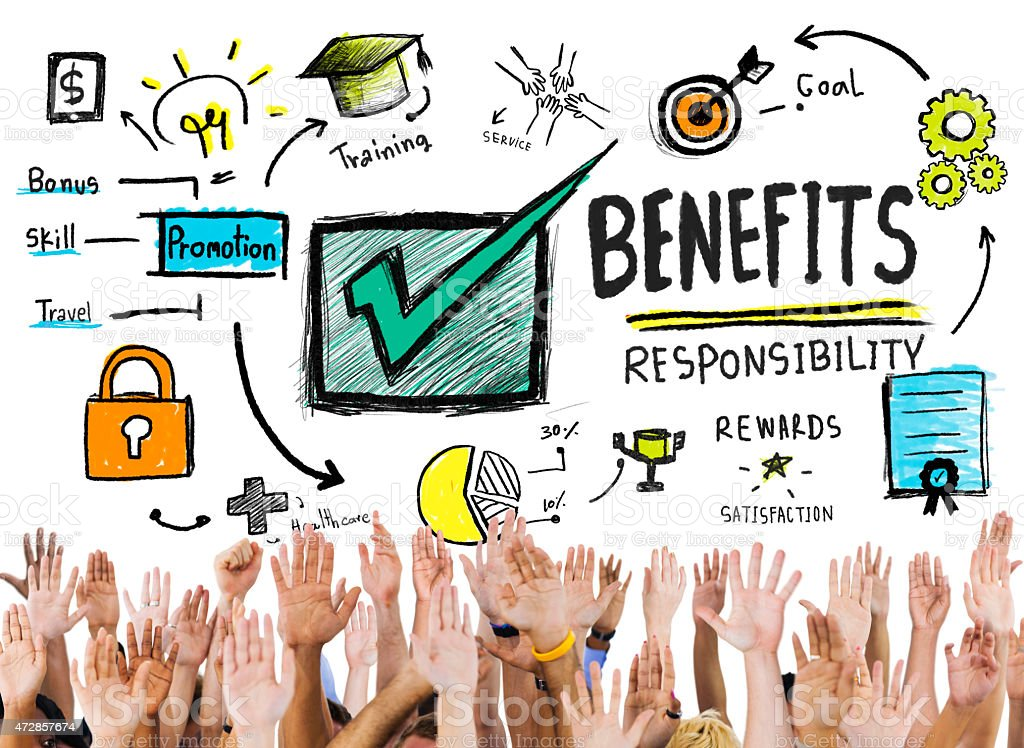 Benefits Gain Profit Earning Income Hands Volunteer Concept stock photo
