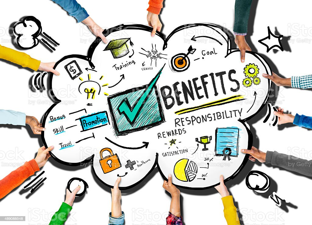 Benefits Gain Profit Earning Income Support Team Concept stock photo