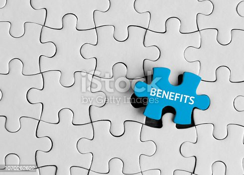 istock Benefits, Jigsaw puzzle concept. 1070262622