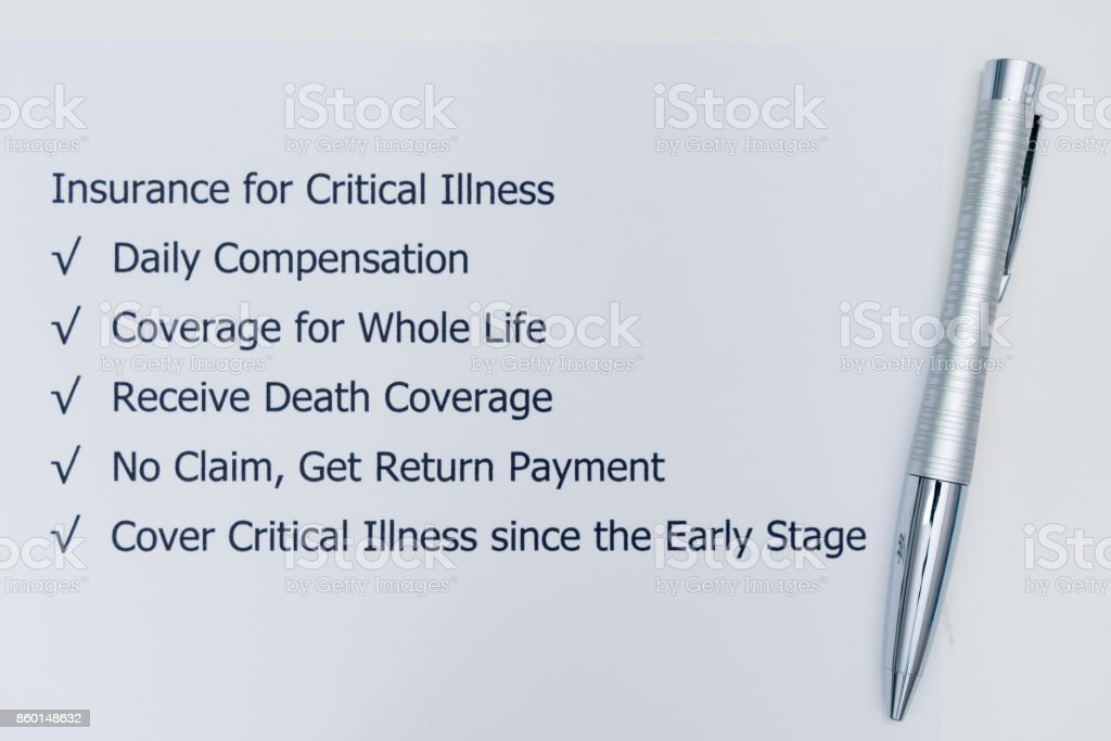 Benefits of doing Insurance for Critical Illness. stock photo