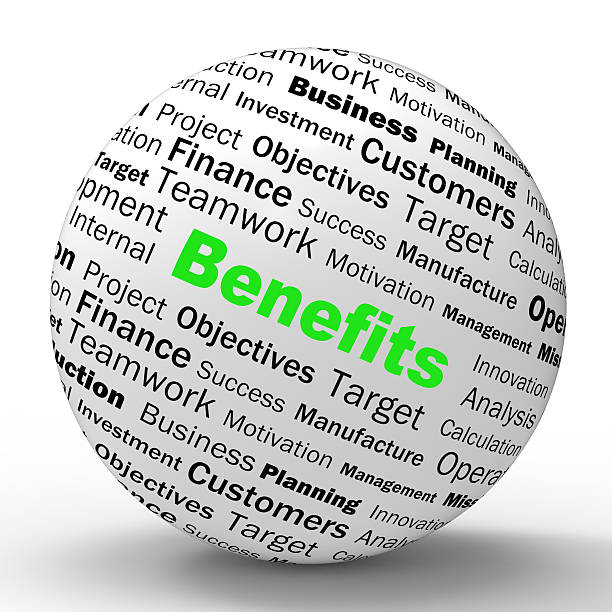 Benefits Sphere Definition Means Advantages Or Monetary Bonuses stock photo