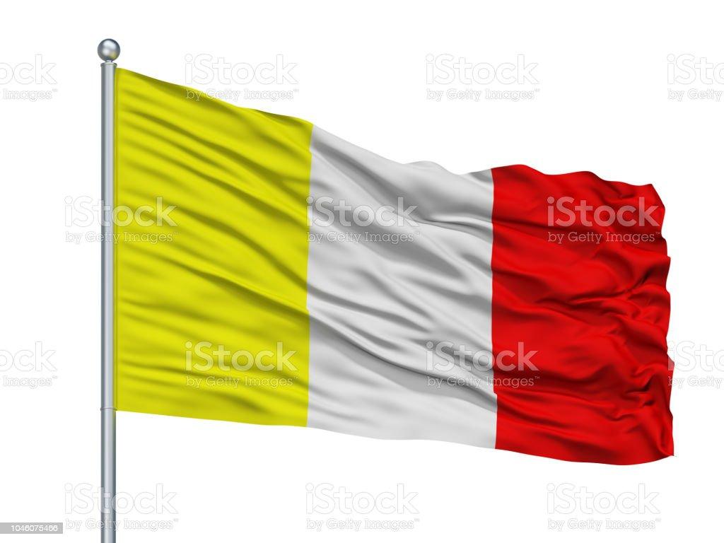 Benevento City Flag On Flagpole, Italy, Isolated On White Background stock photo