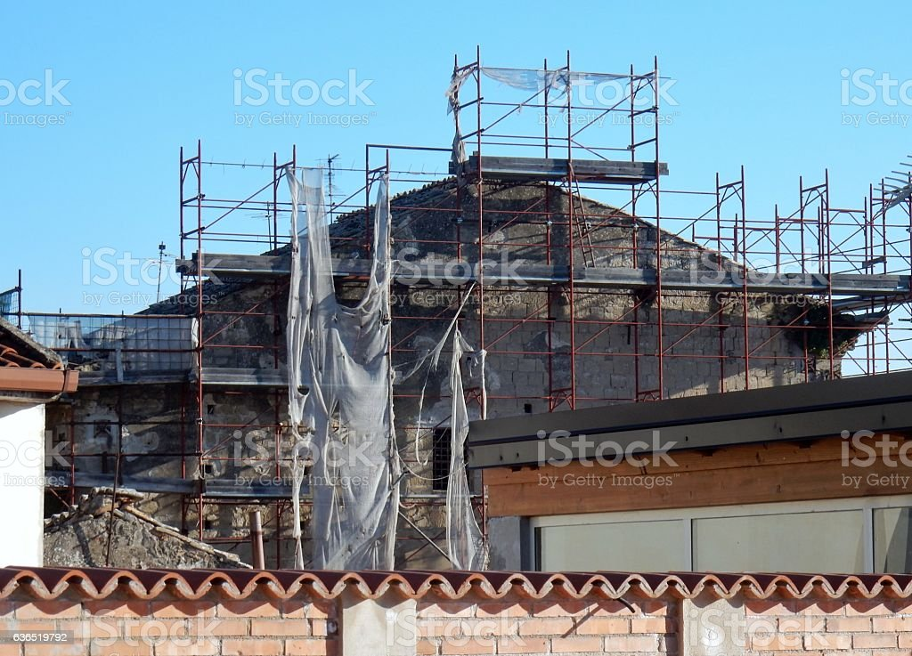 Benevento - Ponteggio fatiscente stock photo