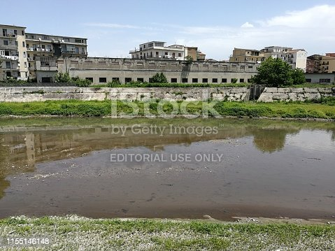 Benevento, Campania, Italy - June 9, 2019: Panoramic view of the Sabato River from the top of the embankment