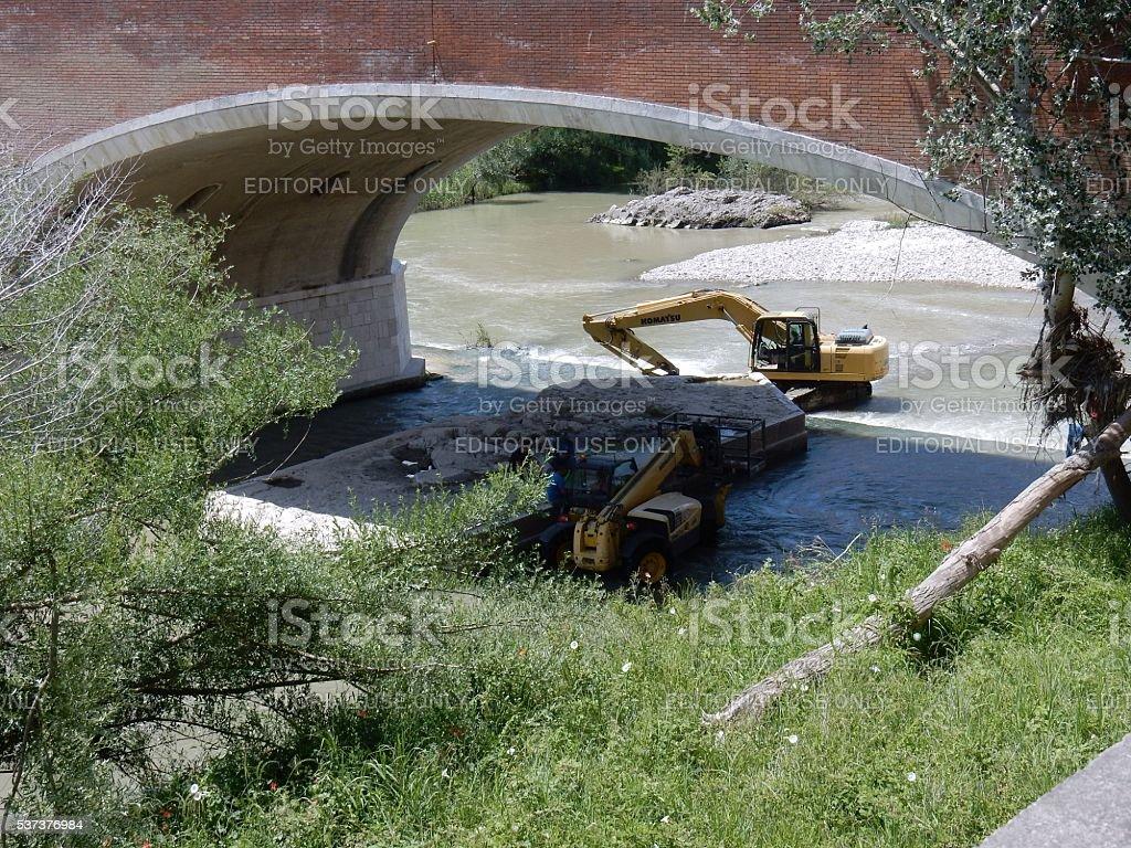 Benevento - Lavori in alveo stock photo