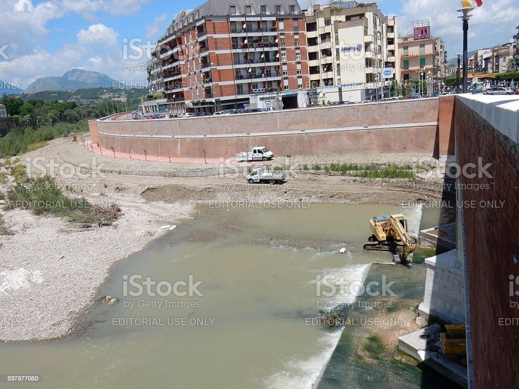 Benevento - Lavori nel fiume Calore stock photo