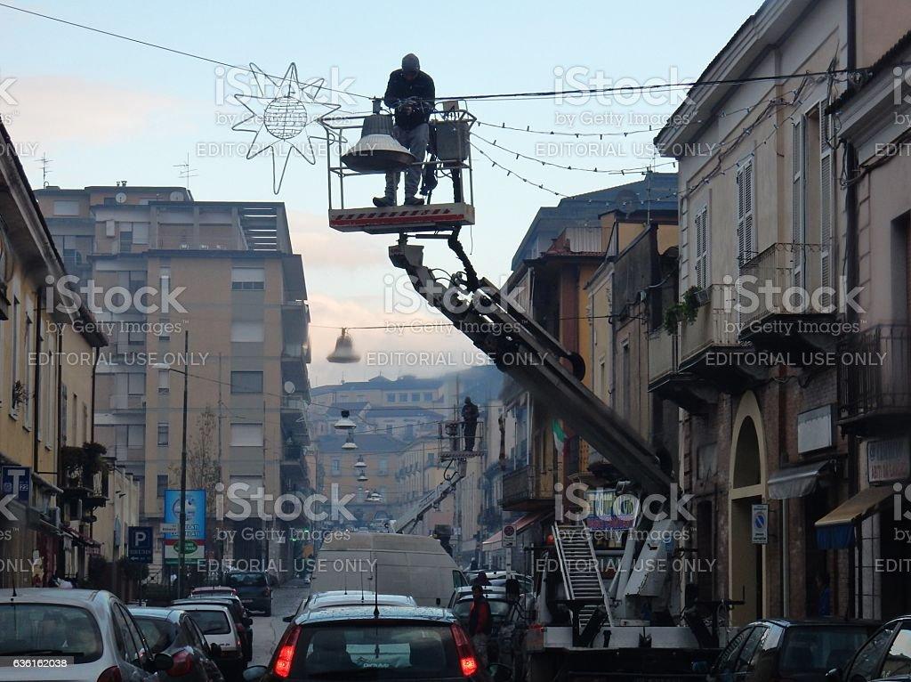 Benevento - Luminarie in allestimento stock photo
