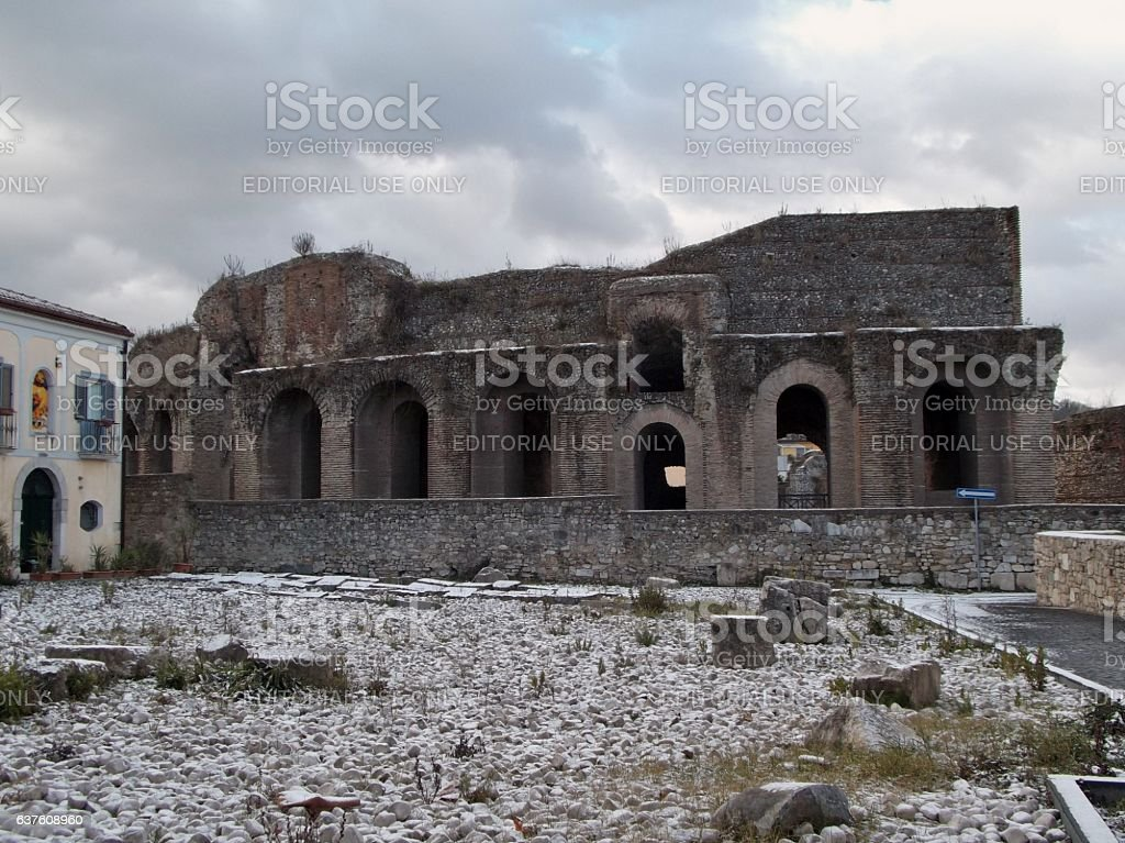 Benevento - Scorcio invernale del Teatro Romano stock photo