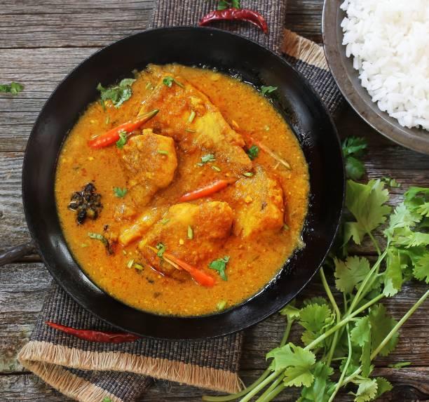bengali-fisch-curry (doi maach) gekocht in joghurt-sauce, top-down ansicht - curry reis stock-fotos und bilder