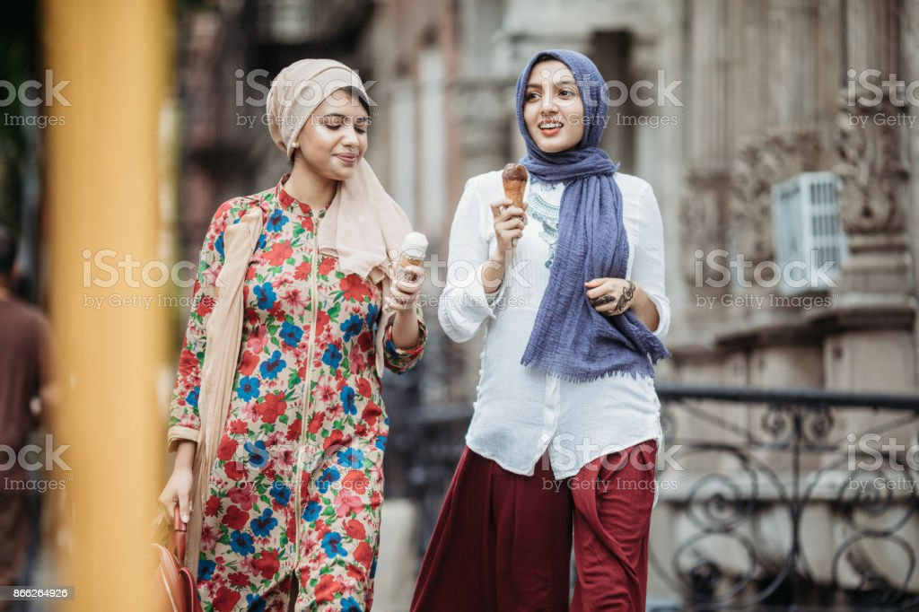 Bengali Muslim Young Women With Ice Cream Stock Photo - Download
