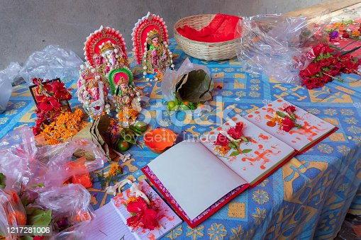 Goddess Laxmi, God Ganesh and new accounts book for new year, are being worshipped with flower and various other materials on auspicious day of Bengali new year. Traditional Bengali Hindu ritual.