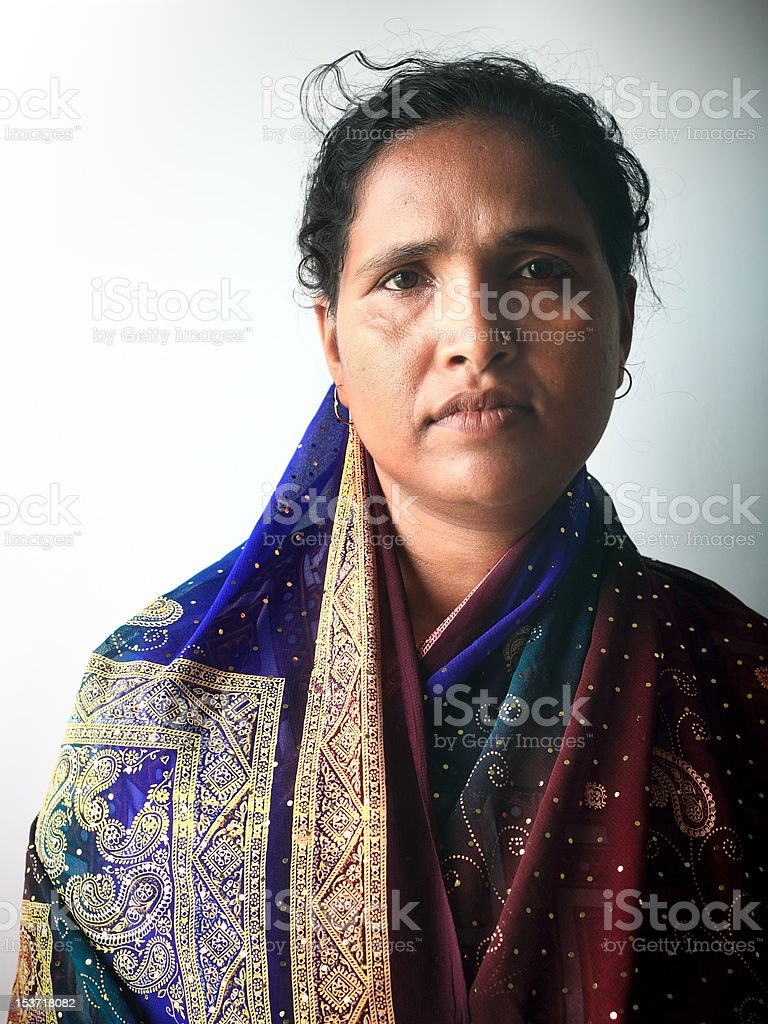 Bengali Woman in Sari royalty-free stock photo