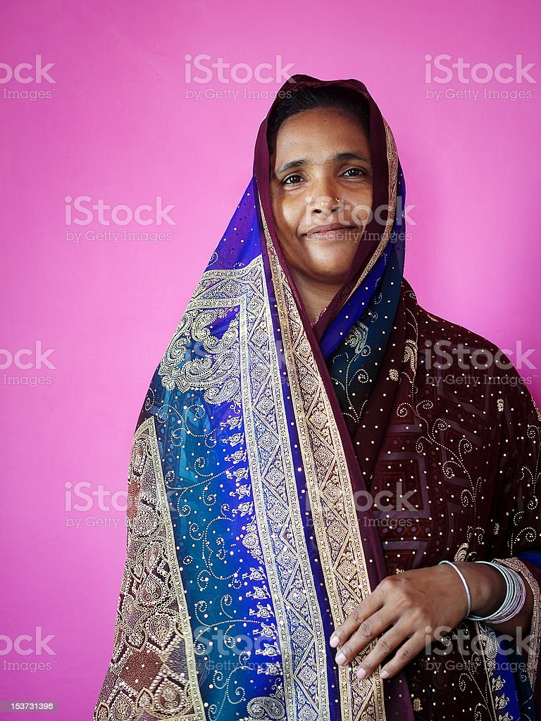 Bengali Woman in Sari royalty-free stock photo