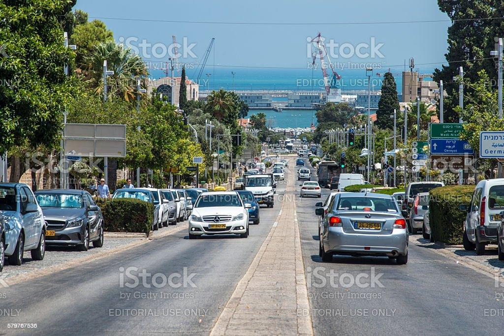 Ben-Gurion avenue in Haifa and view of the port stock photo